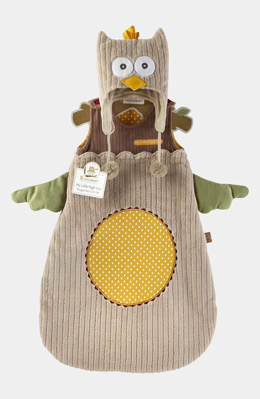 Alternate Image 1 Selected - Baby Aspen 'My Little Night Owl' Wearable Blanket & Hat (Baby)