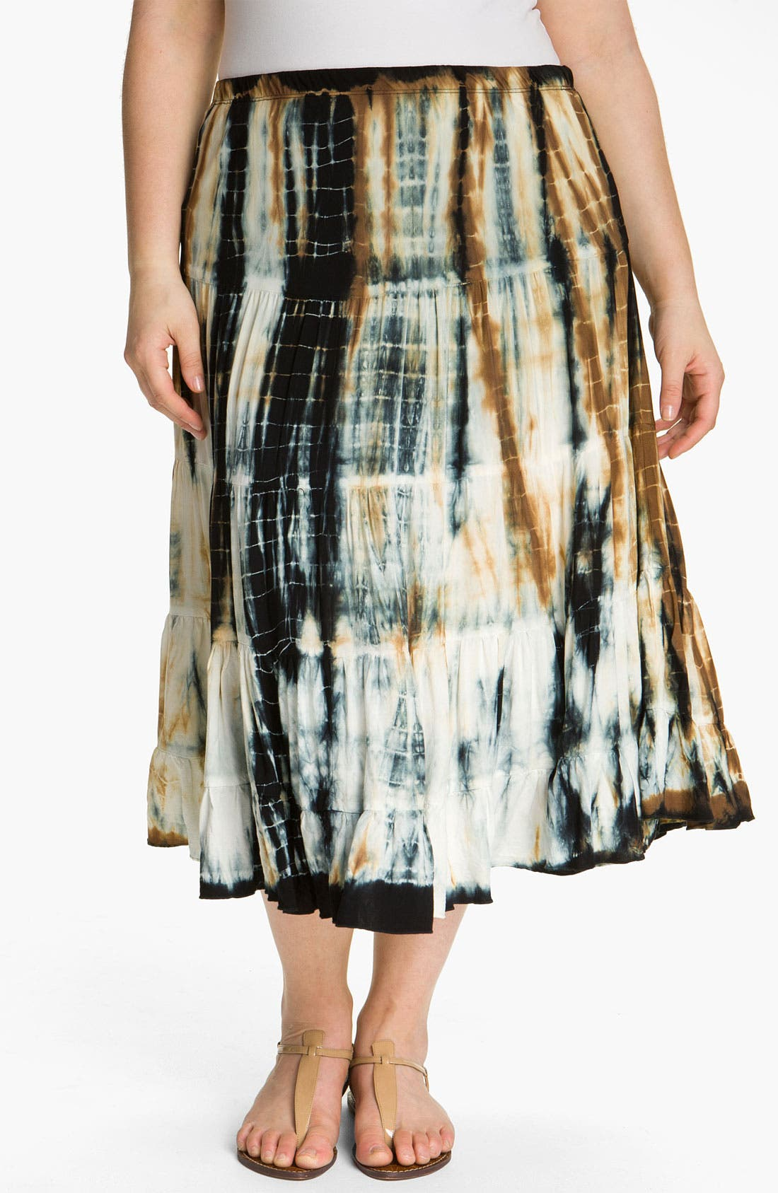 Main Image - Karen Kane Tie Dye Tiered Skirt (Plus)