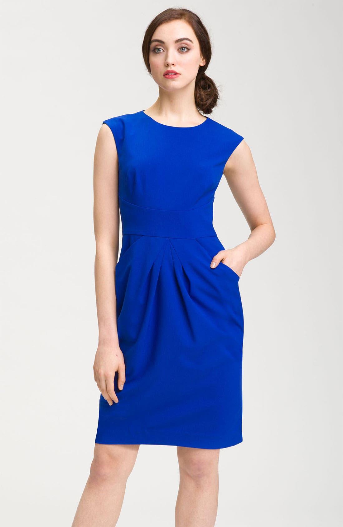 Alternate Image 1 Selected - Calvin Klein Cap Sleeve Woven Sheath Dress