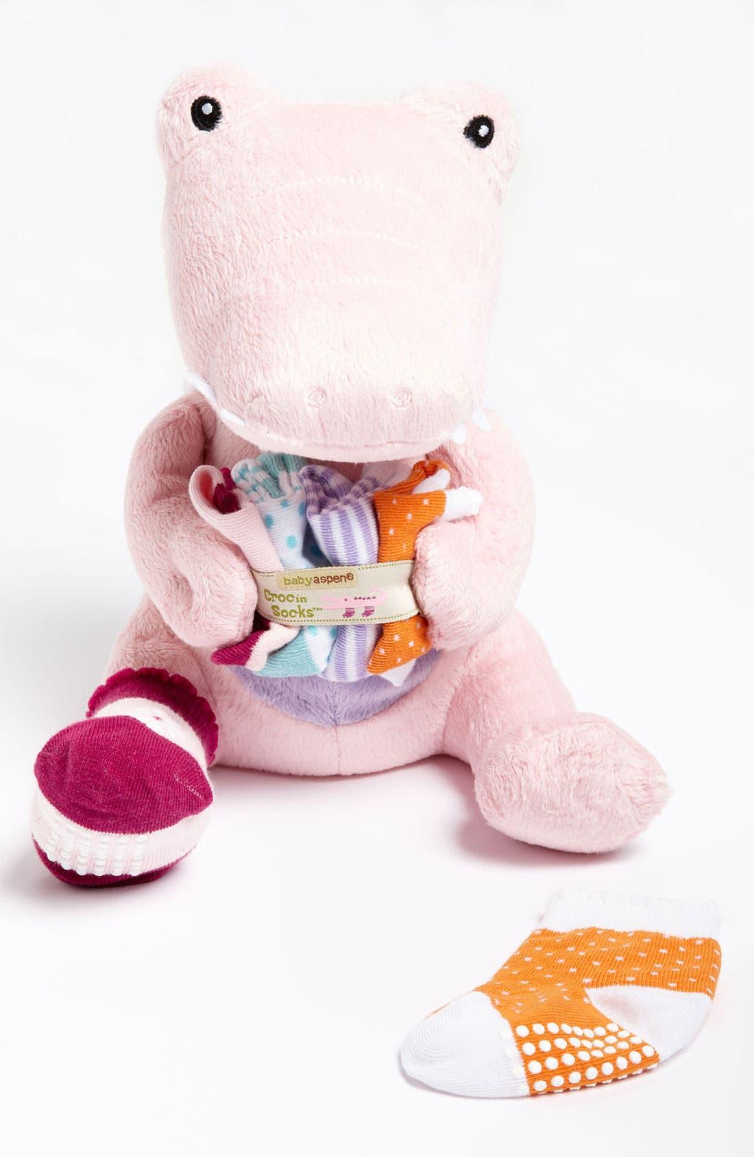 Main Image - Baby Aspen 'Croc & Socks' Stuffed Animal & Socks (4-Pack) (Infant)