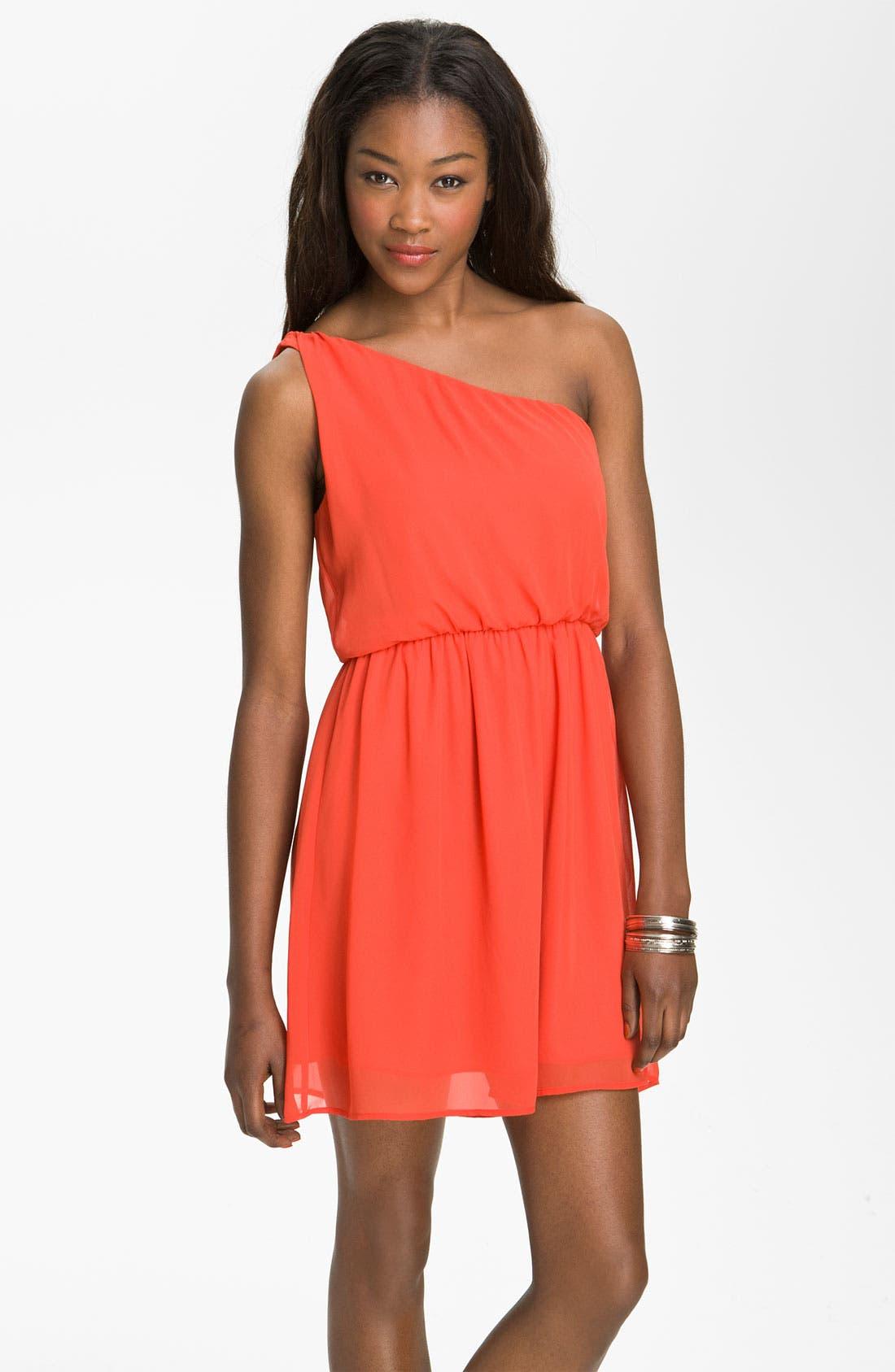 Main Image - Lush 'Caroline' One Shoulder Dress (Juniors)