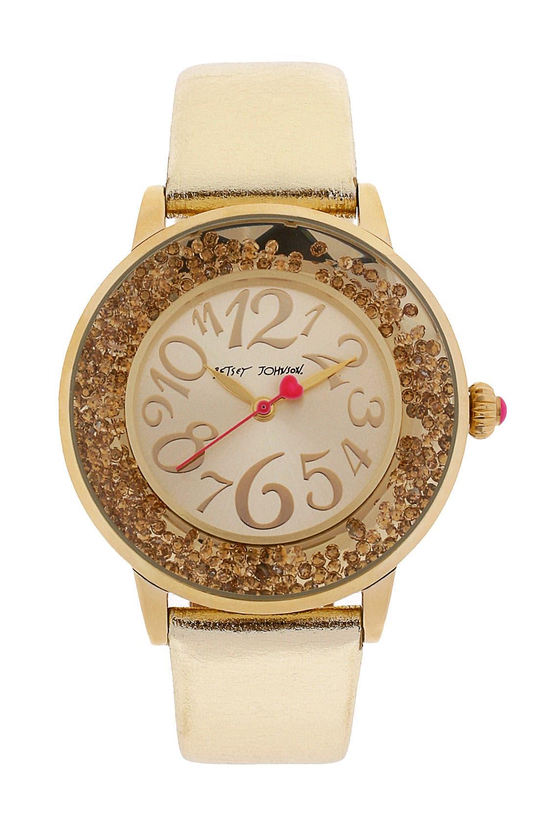 Alternate Image 1 Selected - Betsey Johnson Loose Crystal Bezel Watch