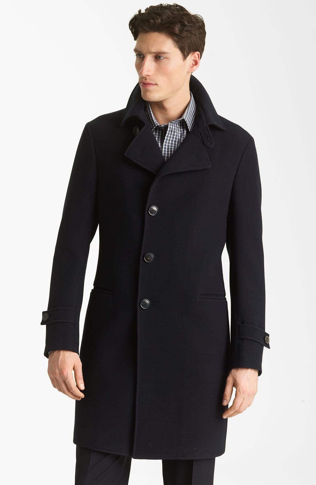 Alternate Image 1 Selected - Armani Collezioni Twill Top Coat