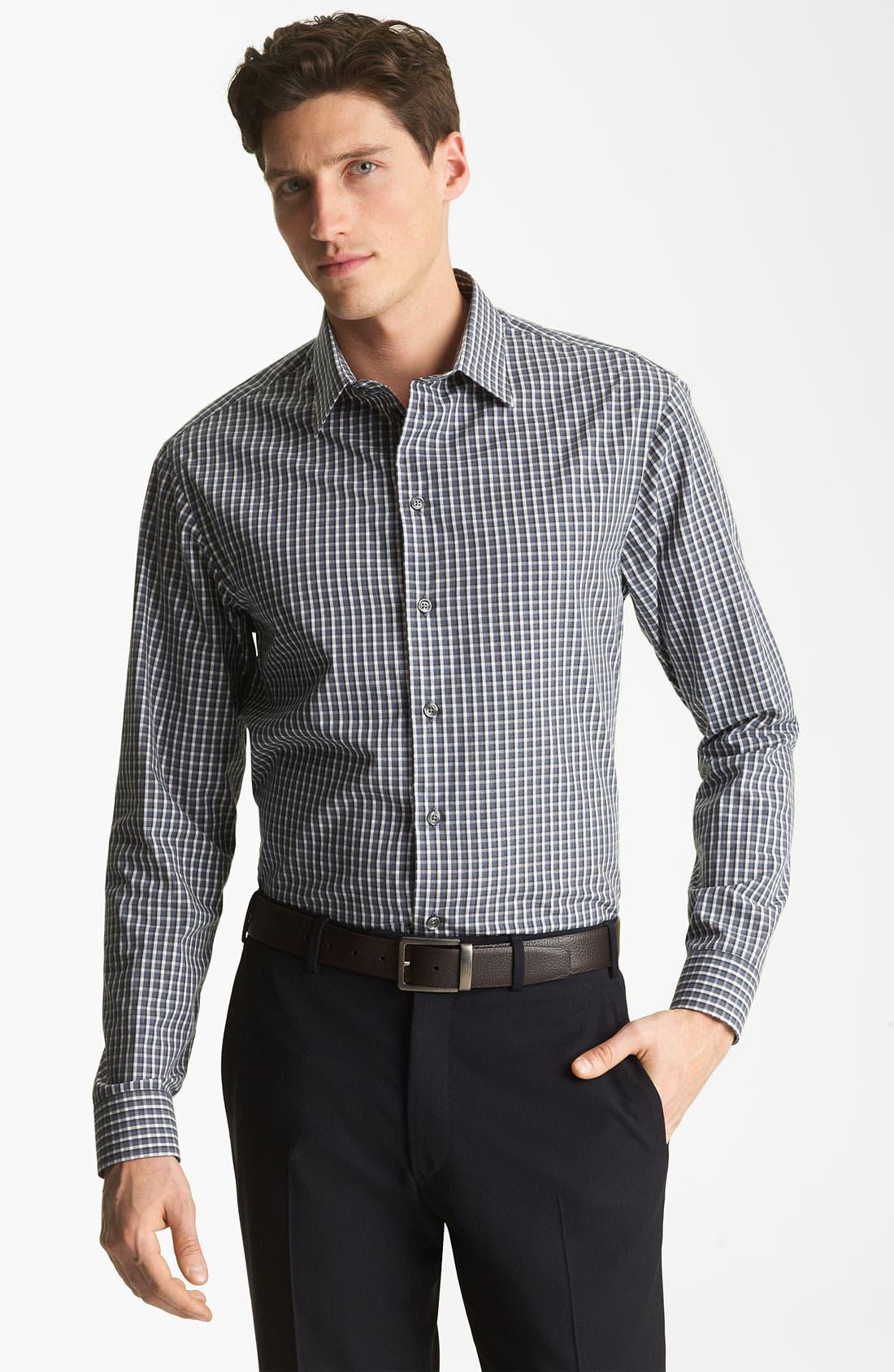 Main Image - Armani Collezioni Check Plaid Sport Shirt