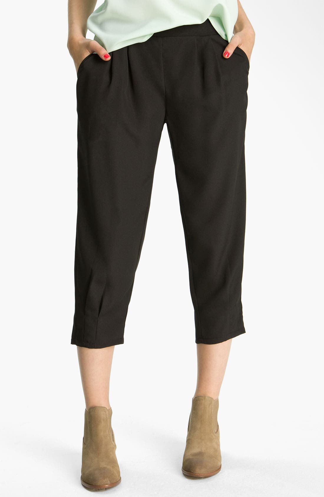 Alternate Image 1 Selected - Mimi Chica Crop Pleated Pants (Juniors)