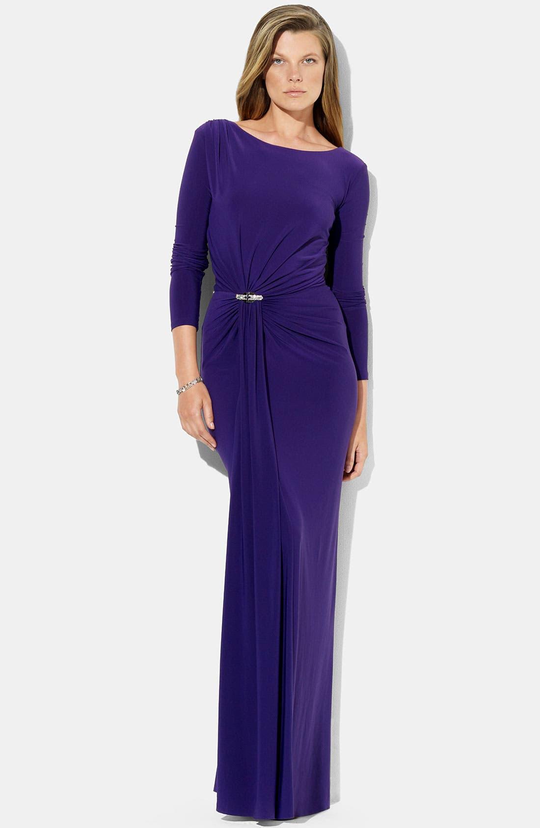 Alternate Image 1 Selected - Lauren Ralph Lauren Low Back Jersey Gown