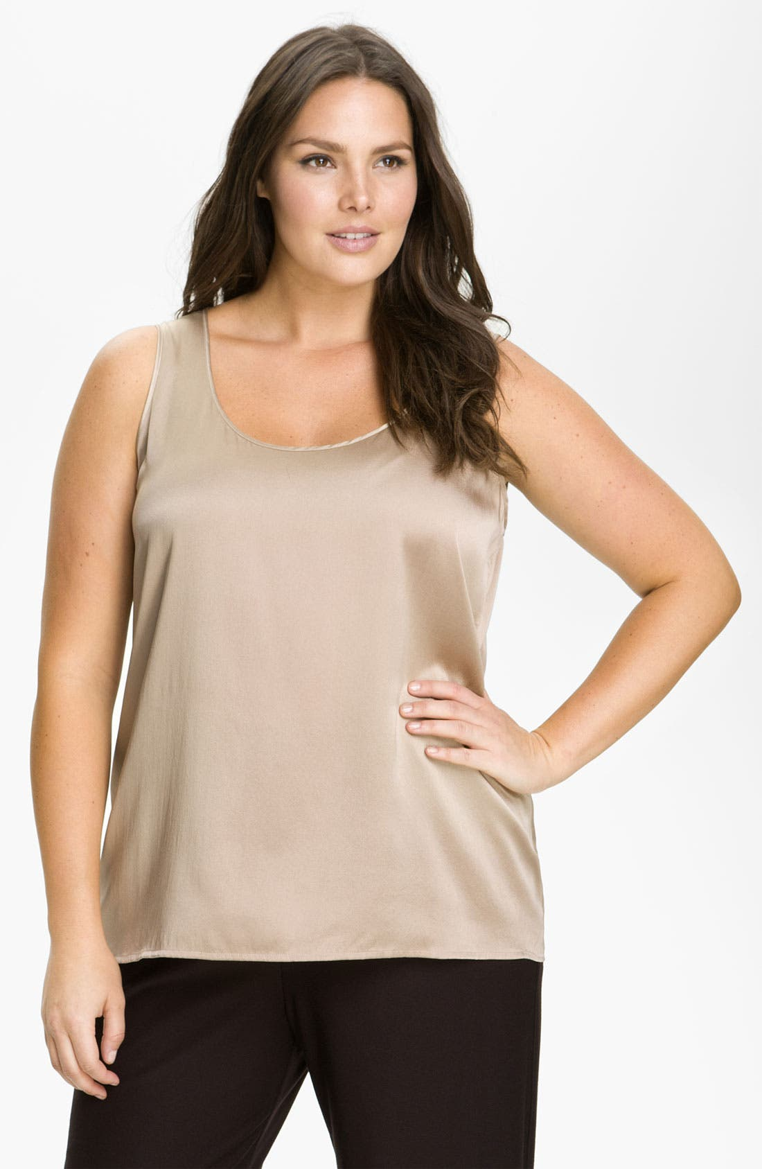 Main Image - Eileen Fisher Stretch Silk Tank (Plus)