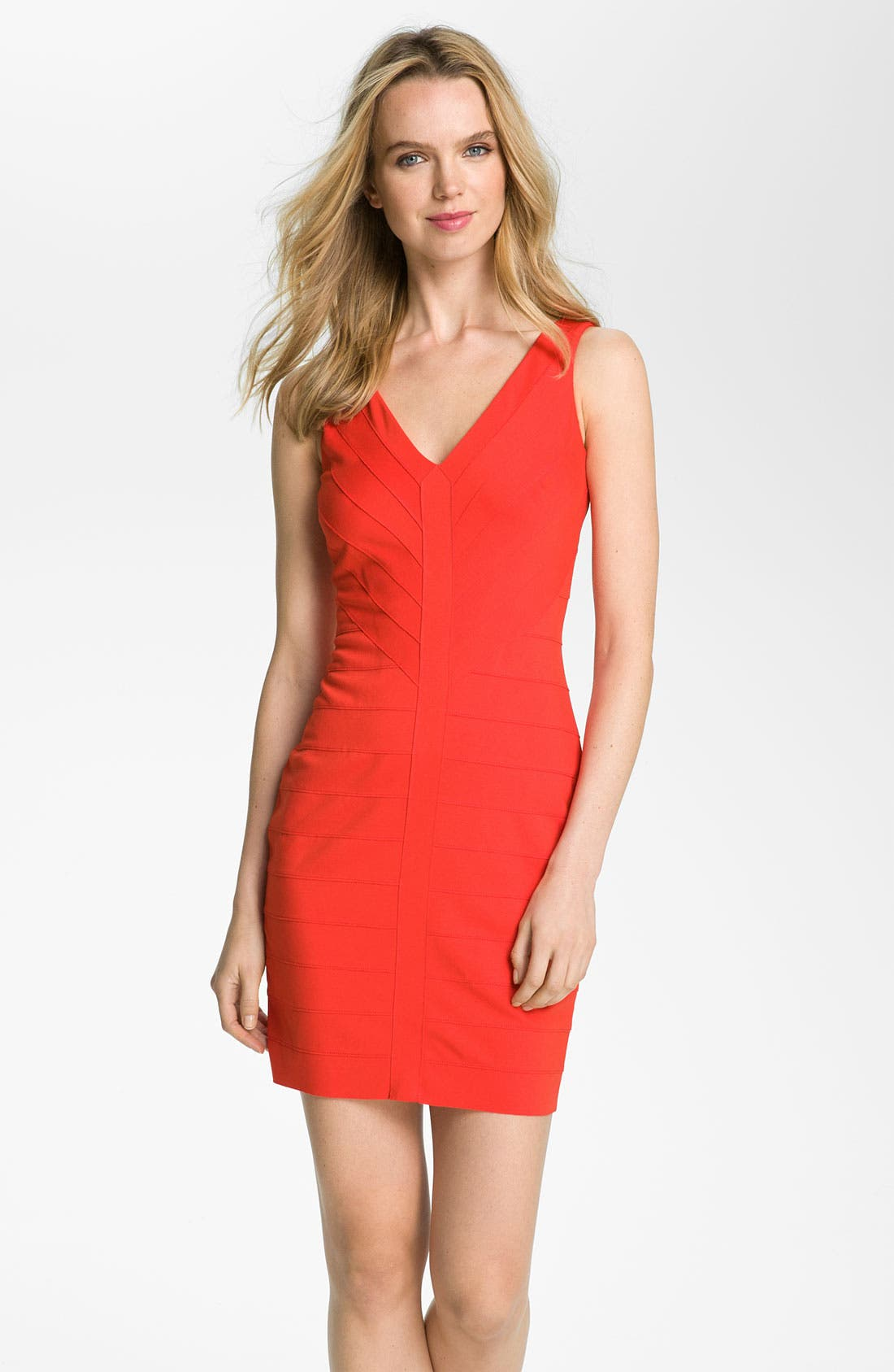 Main Image - BB Dakota V-Neck Banded Ponte Sheath Dress