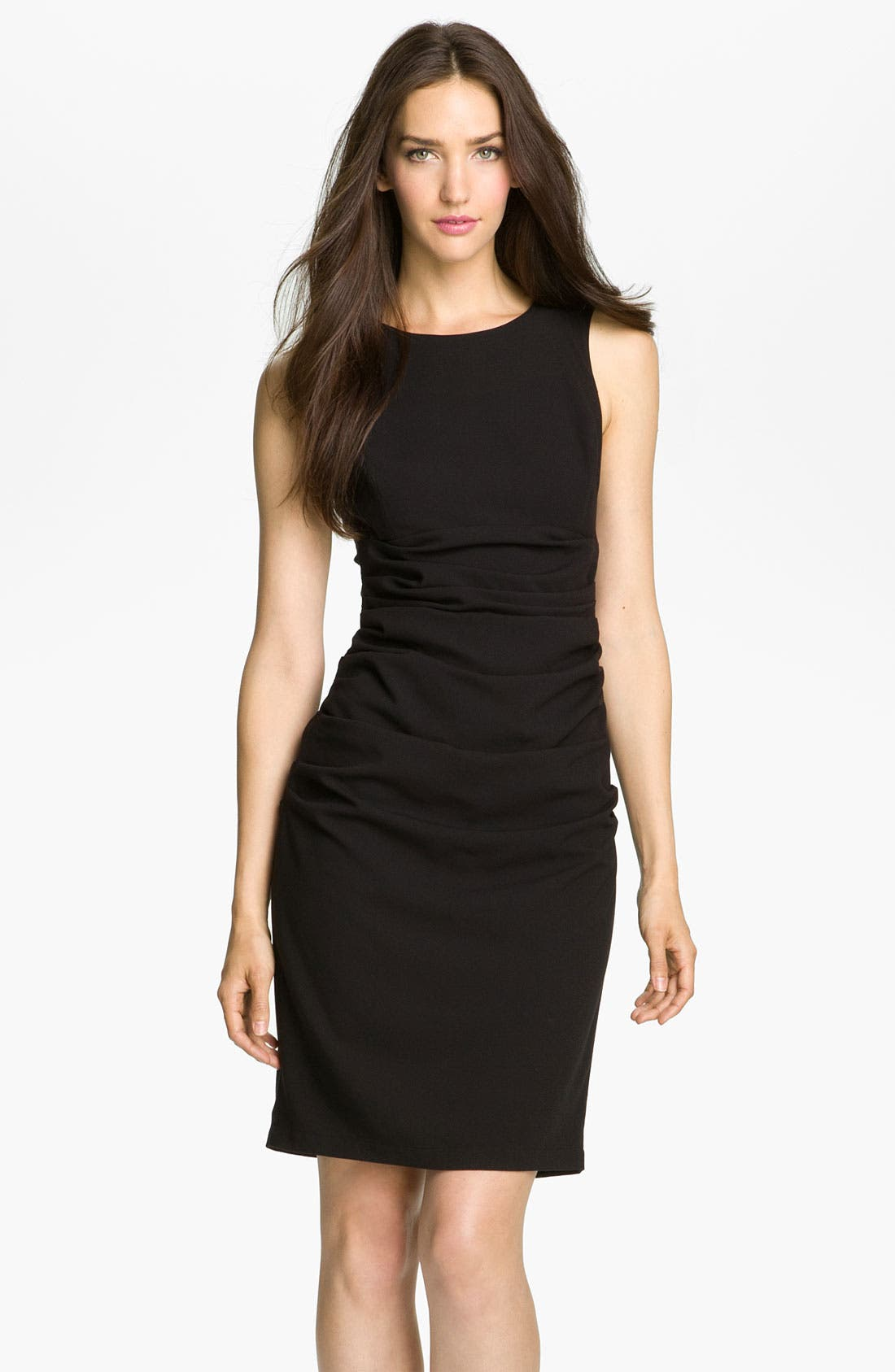 Main Image - BCBGMAXAZRIA Lace Back Crepe Sheath Dress