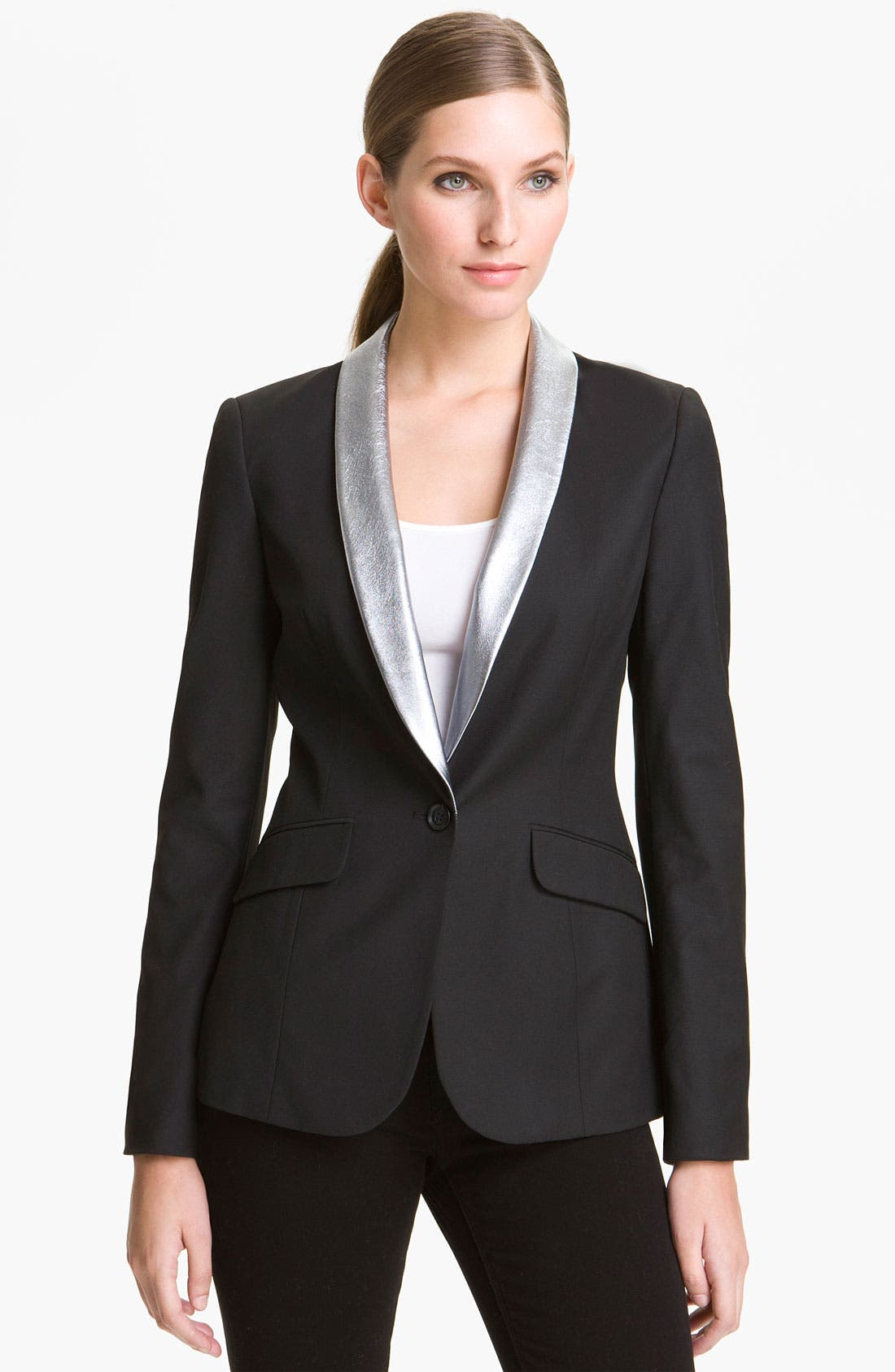 Alternate Image 1 Selected - Elizabeth and James 'Rex' Metallic Leather Collar Blazer