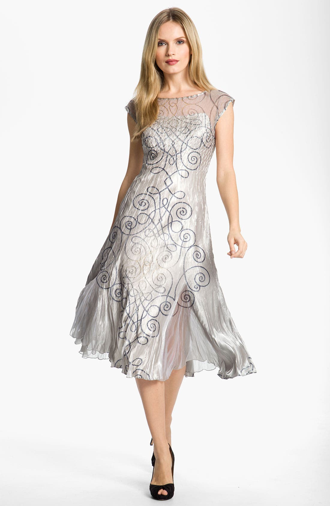 Alternate Image 2  - Komarov Swirl Print Textured Charmeuse Dress