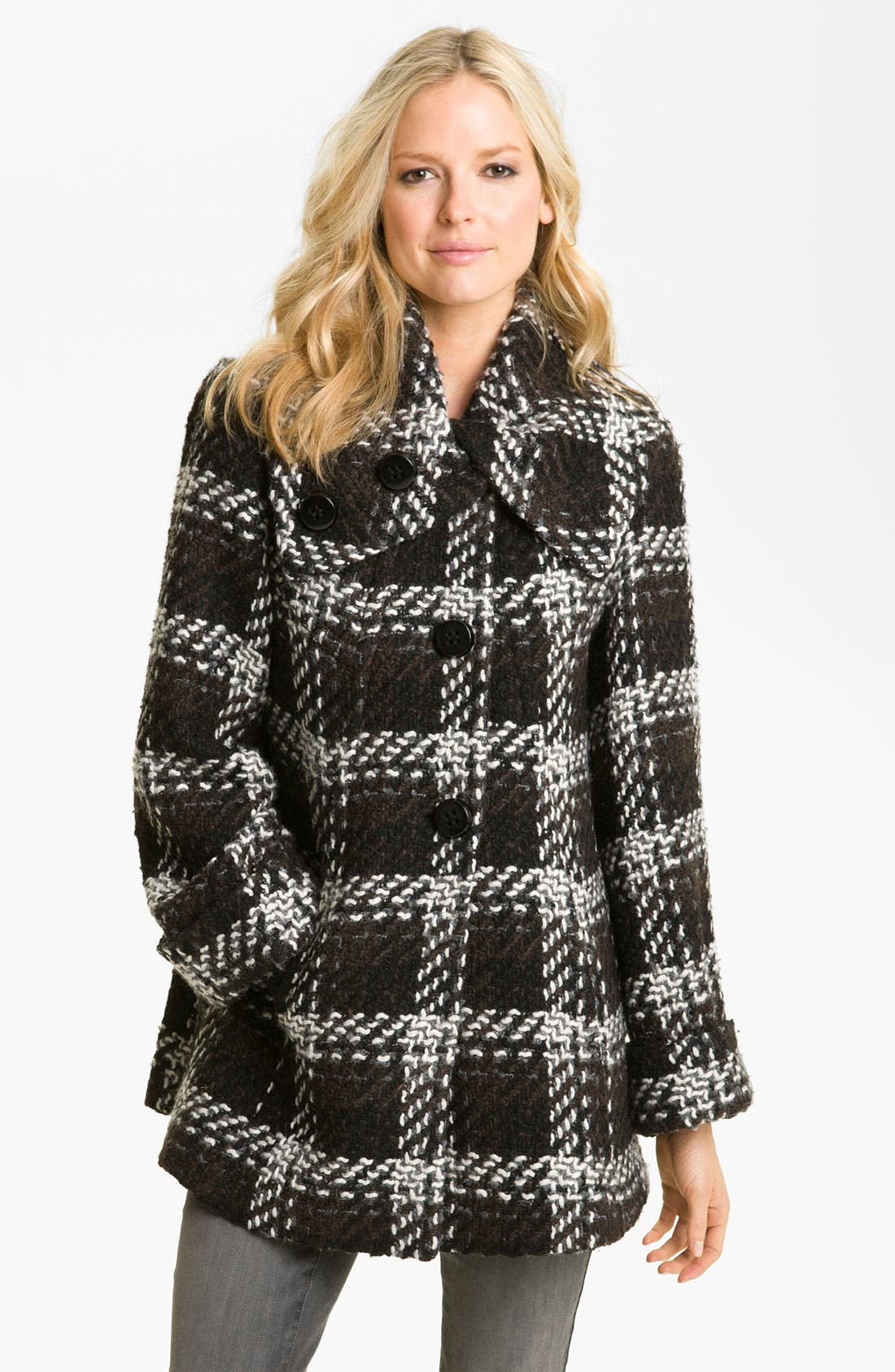 Main Image - 1 Madison Wing Collar Plaid Coat