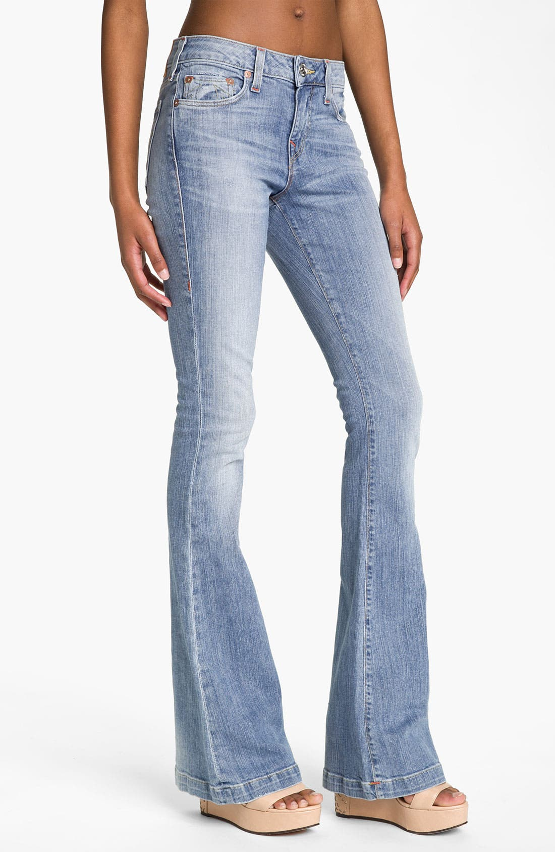 Main Image - True Religion Brand Jeans 'Emi'' Distressed Flare Leg Jeans (Medium Drifter)