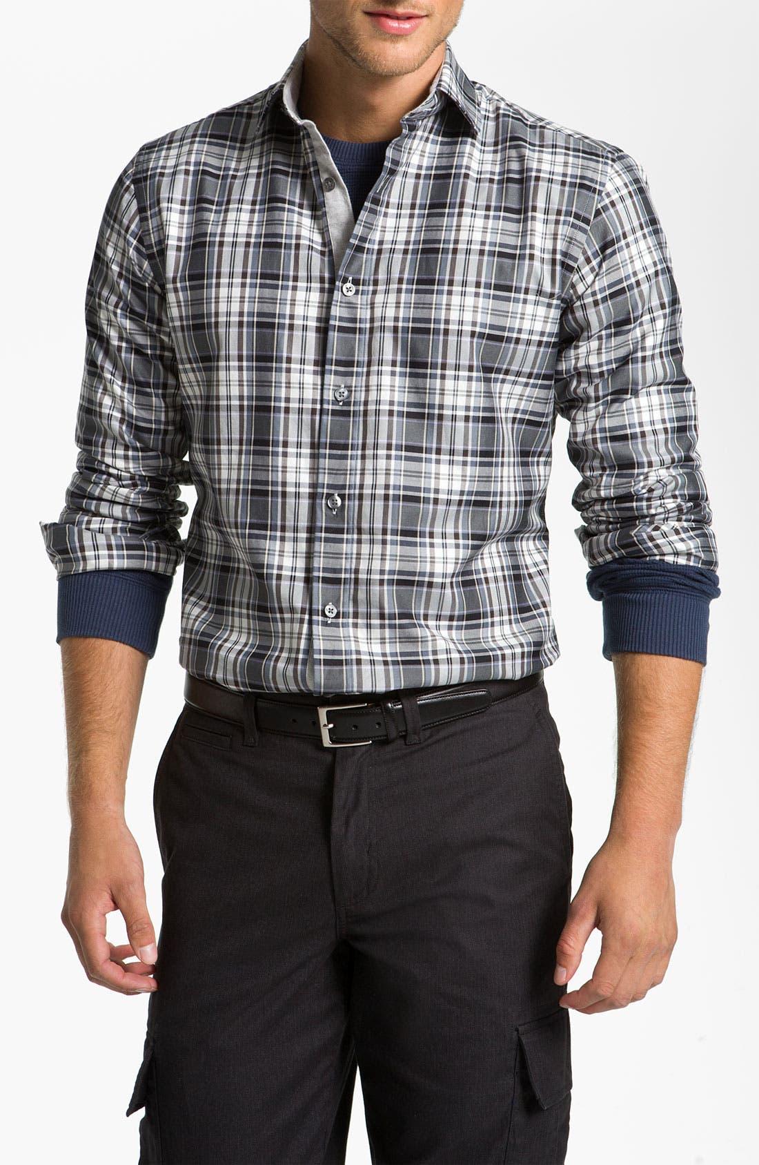 Main Image - Hickey Freeman Plaid Sport Shirt