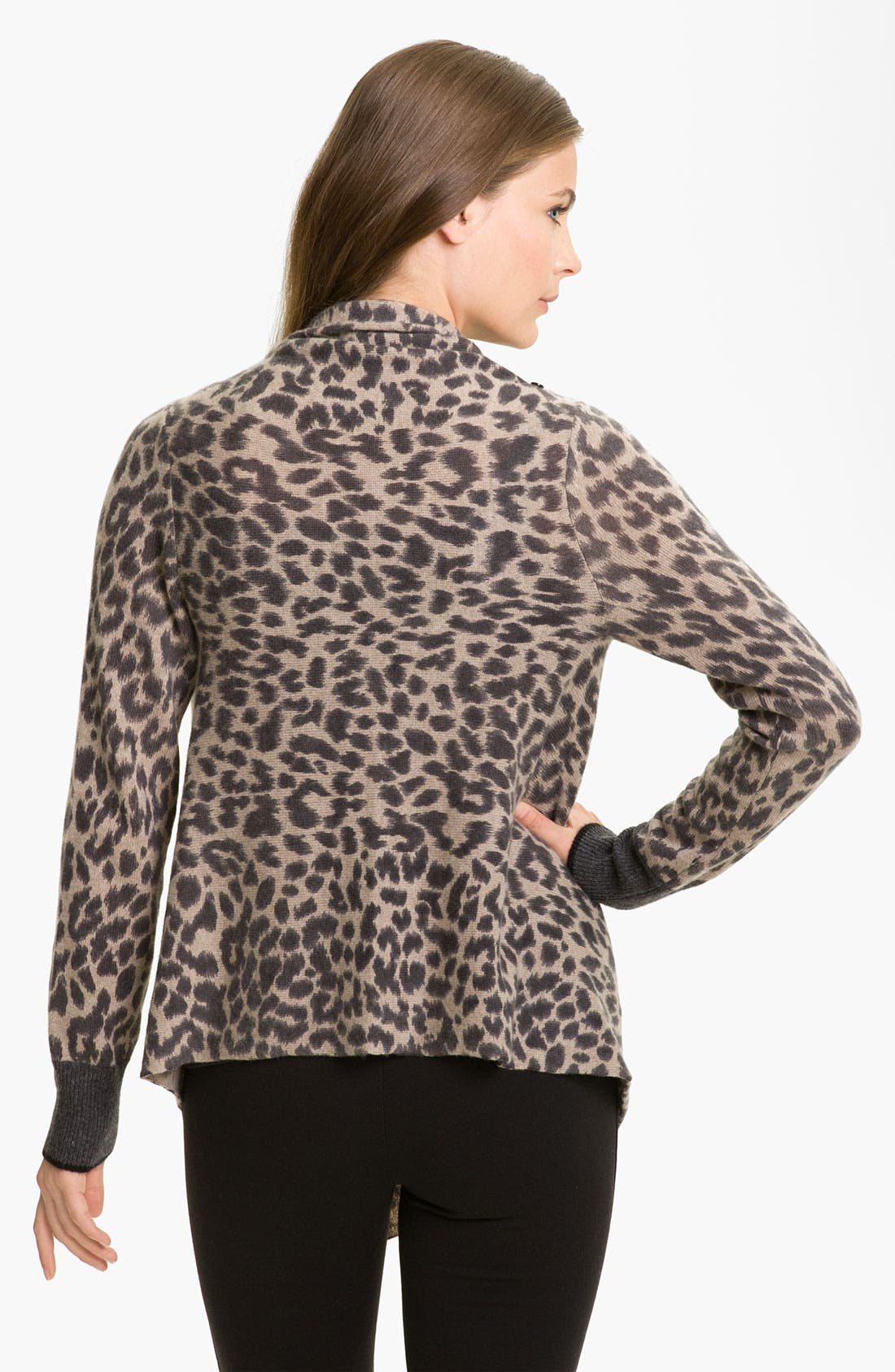 Alternate Image 2  - White + Warren Animal Print Cashmere Cardigan
