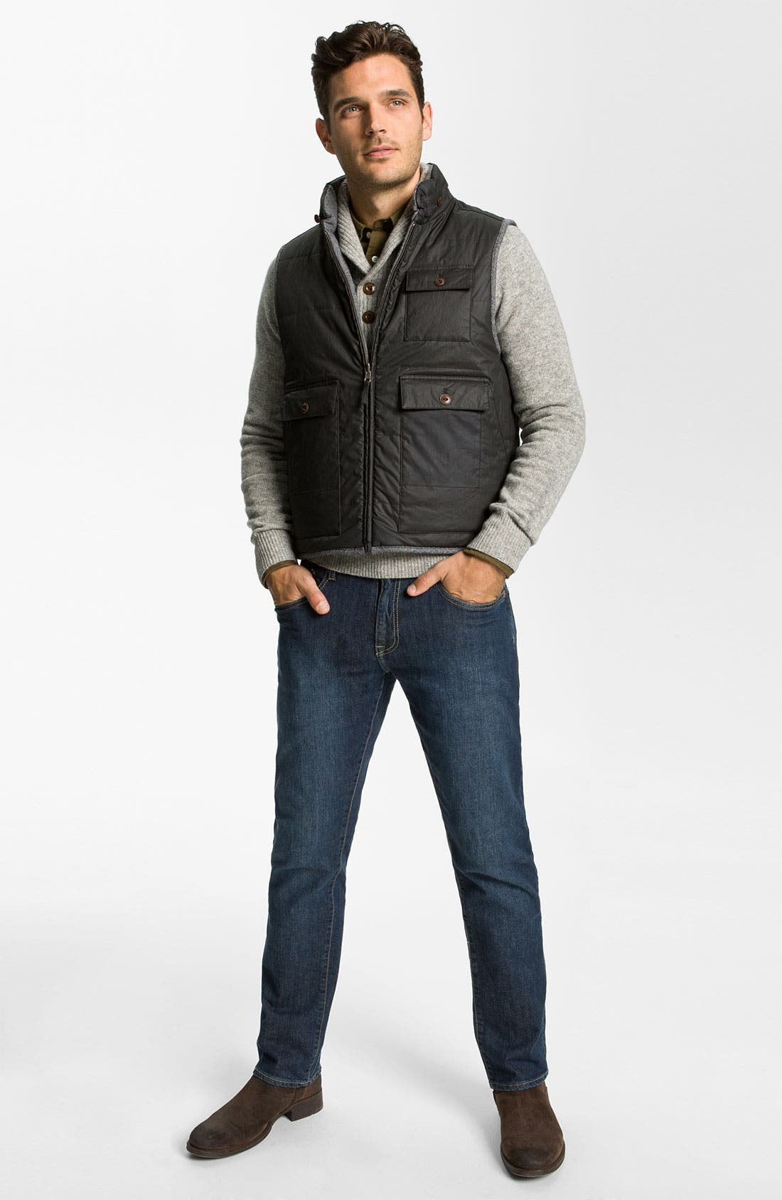 Alternate Image 6  - Façonnable Herringbone Tweed & Waxed Cotton Quilted Vest
