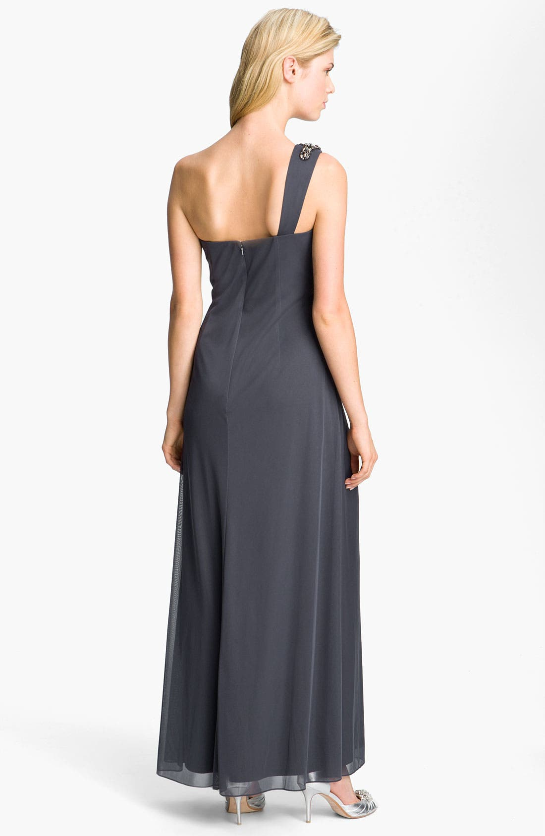 Alternate Image 2  - Alex Evenings One Shoulder Ruched Mesh Gown