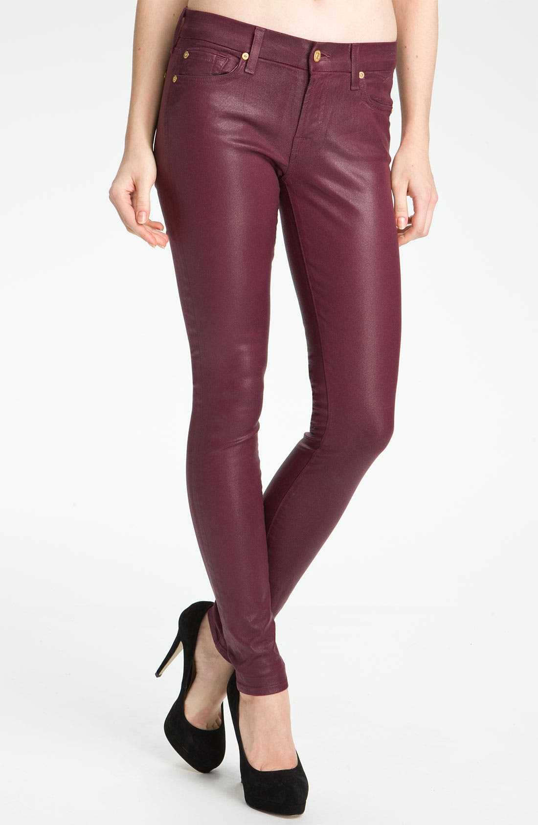 Main Image - 7 For All Mankind® Coated Skinny Stretch Jeans (Merlot Coating)