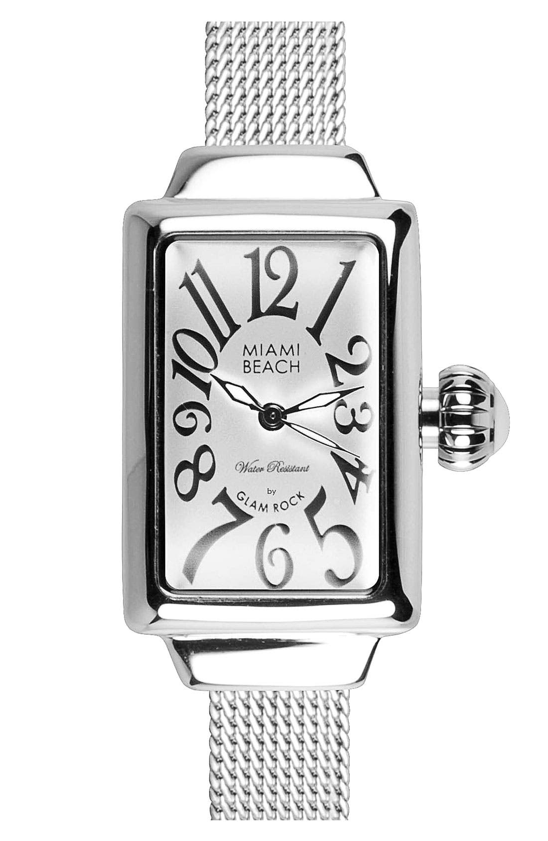 Alternate Image 1 Selected - Miami Beach by Glam Rock Rectangular Mesh Strap Watch