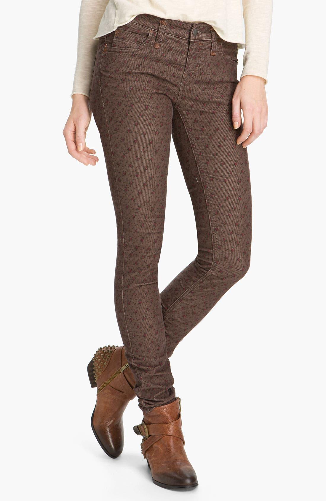 Main Image - Free People Floral Print Skinny Corduroy Pants