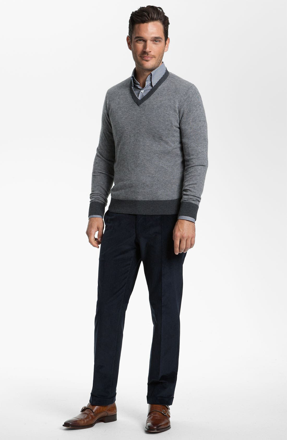 Alternate Image 3  - Canali V-Neck Wool Sweater