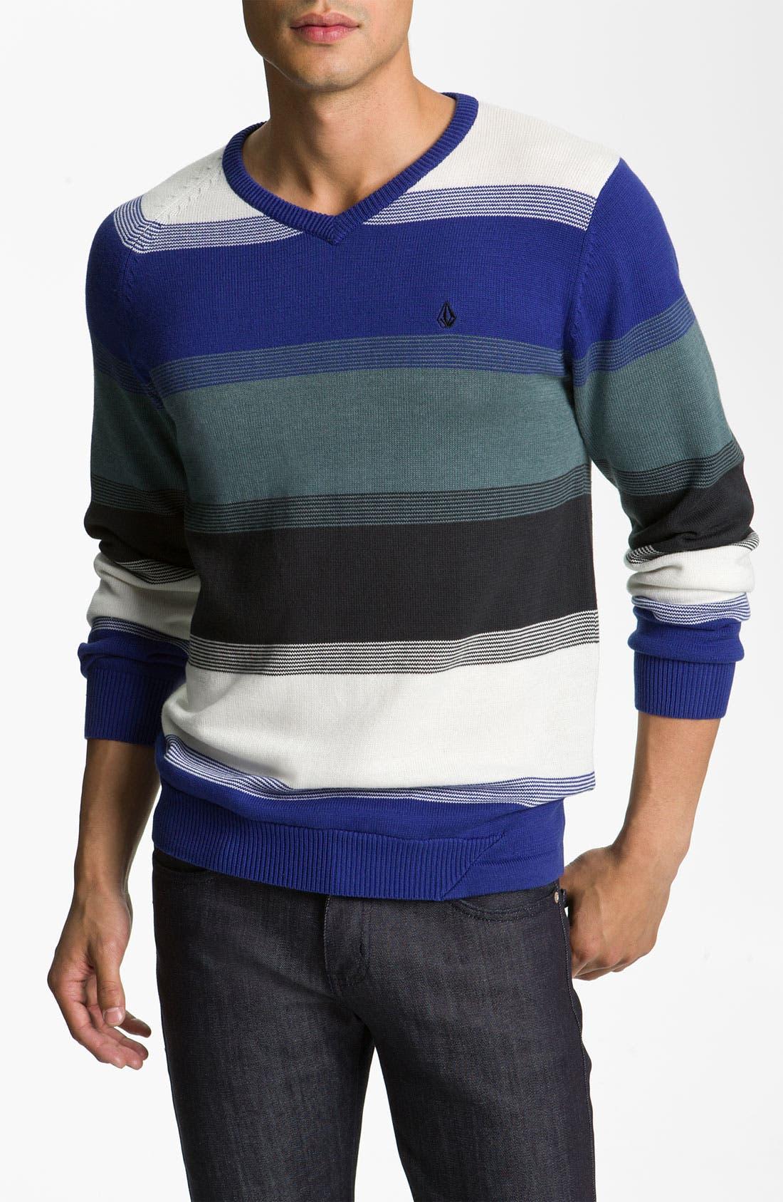 Alternate Image 1 Selected - Volcom Block Stripe V-Neck Sweater