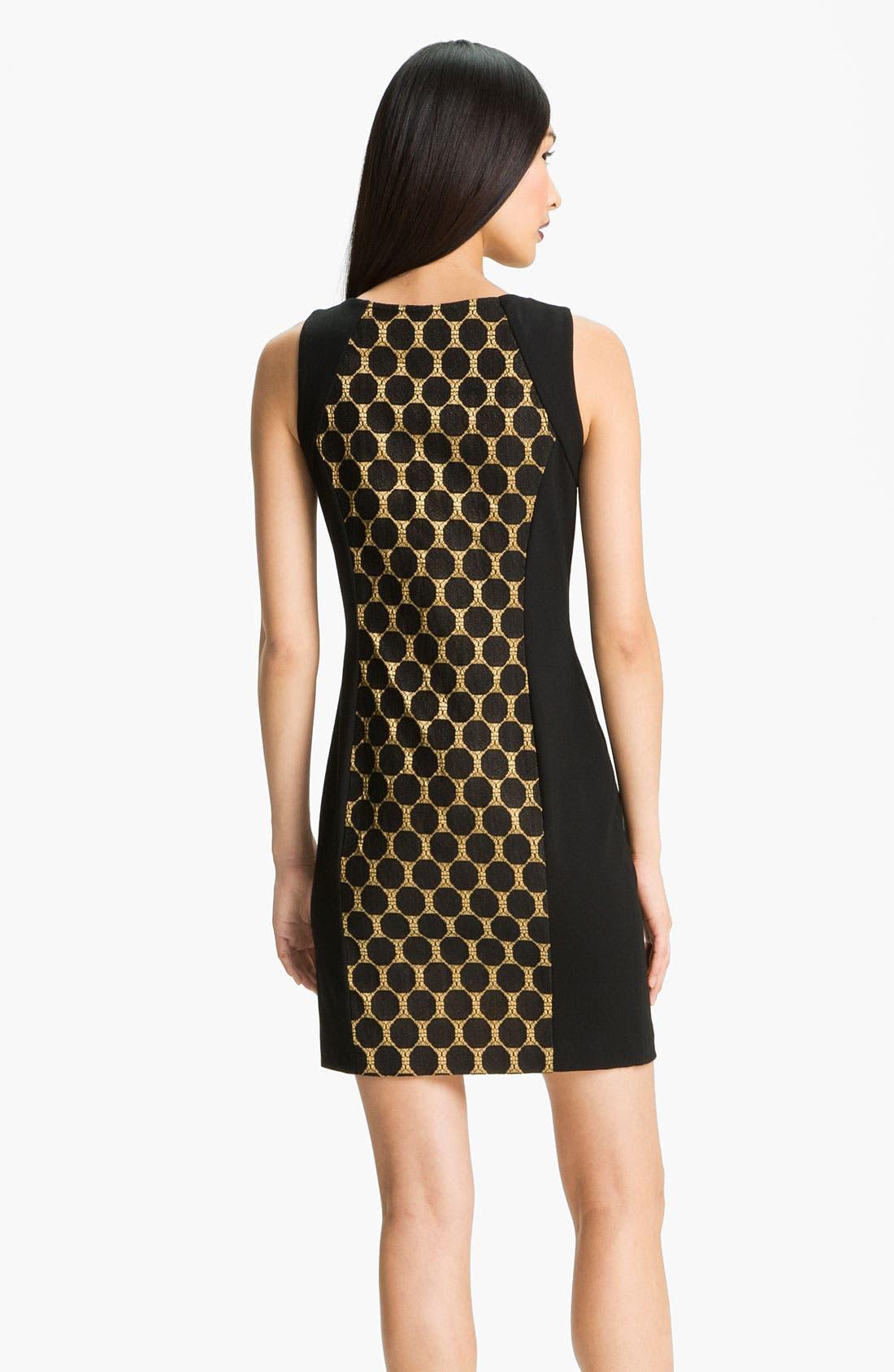 Alternate Image 2  - Donna Ricco Jacquard Panel Ponte Sheath Dress