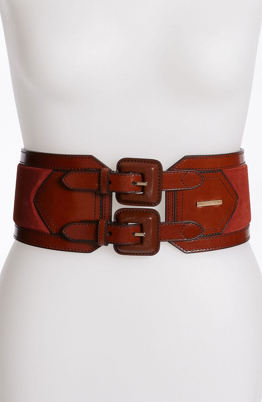 Alternate Image 1 Selected - Burberry Leather & Suede Belt