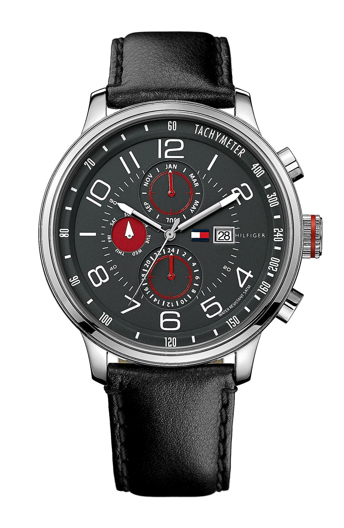 Main Image - Tommy Hilfiger Chronograph Leather Strap Watch, 40mm