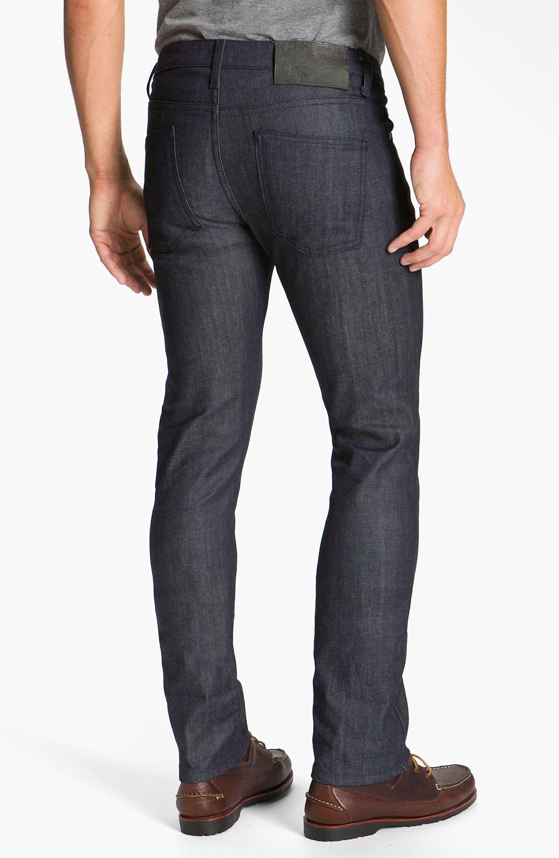 Alternate Image 1 Selected - Naked & Famous Denim 'Skinny Guy' Slim Cotton Cashmere Skinny Leg Jeans (Dark Indigo)