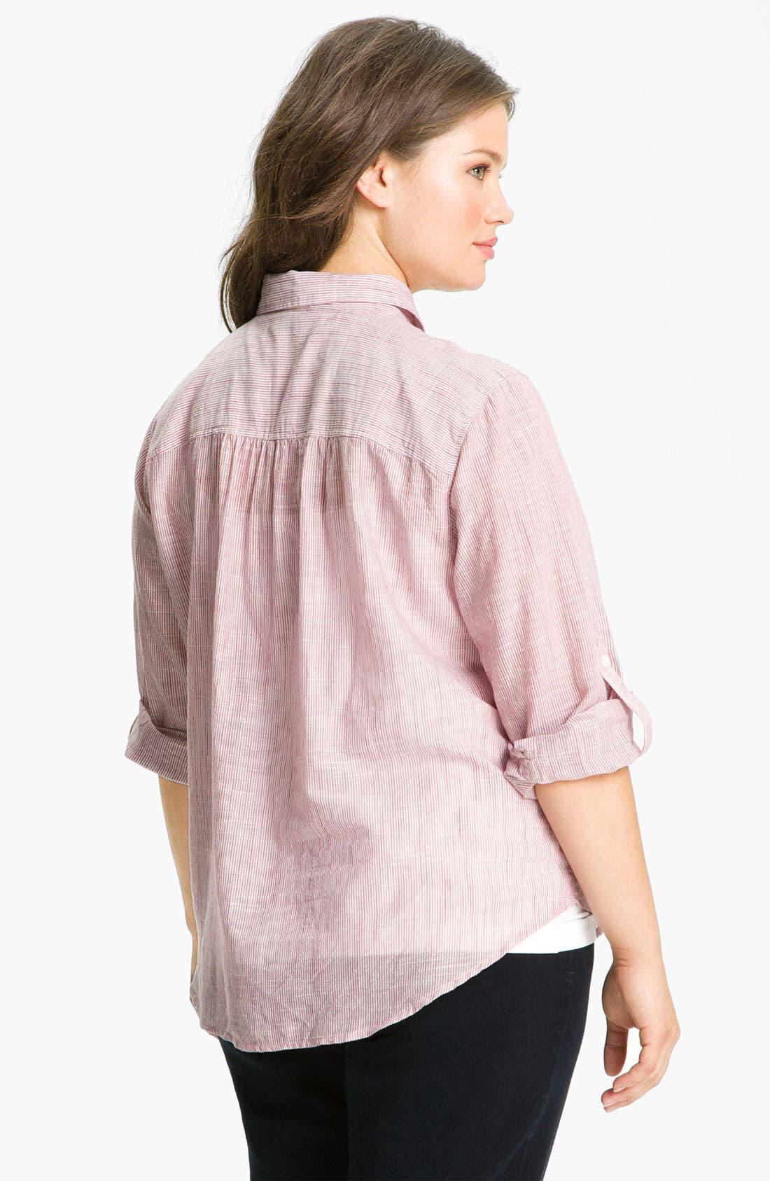 Alternate Image 2  - Sandra Ingrish Stripe Roll Sleeve Shirt (Plus)