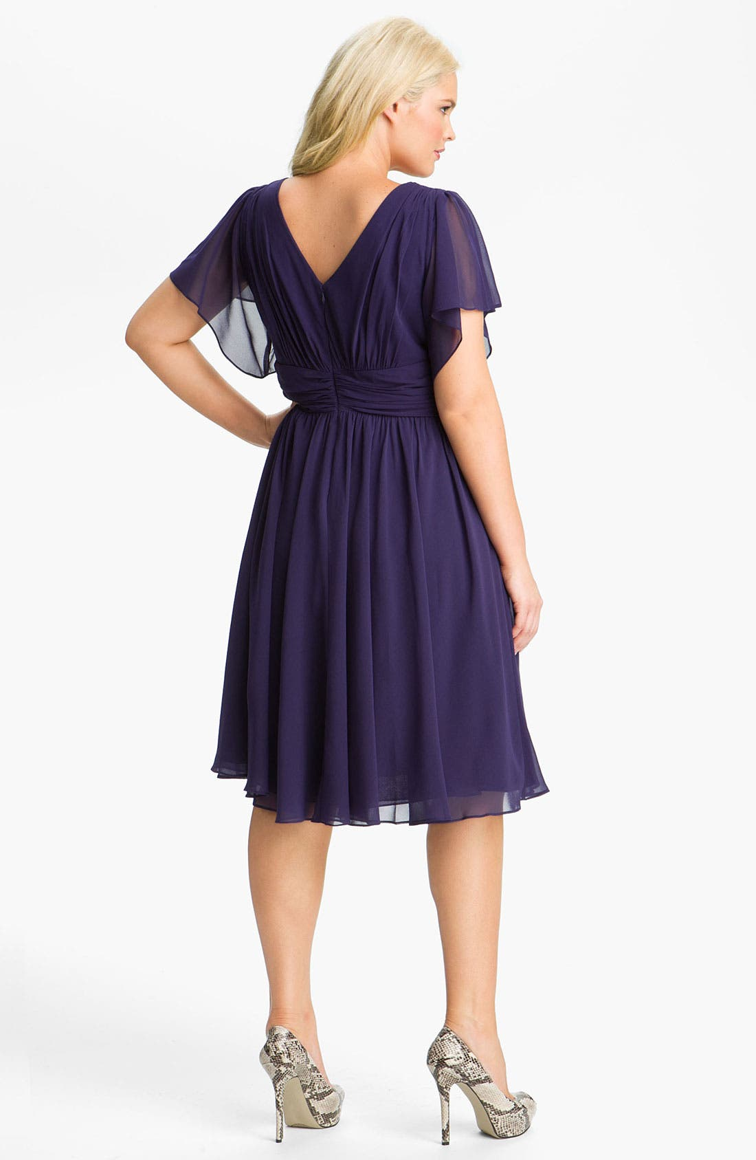 Alternate Image 2  - Ivy & Blu Flutter Sleeve Dress (Plus)