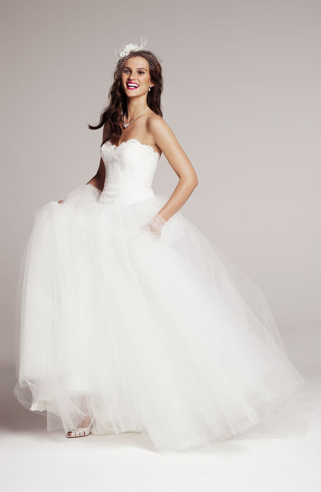 Alternate Image 4  - Theia Strapless Lace & Tulle Ballgown