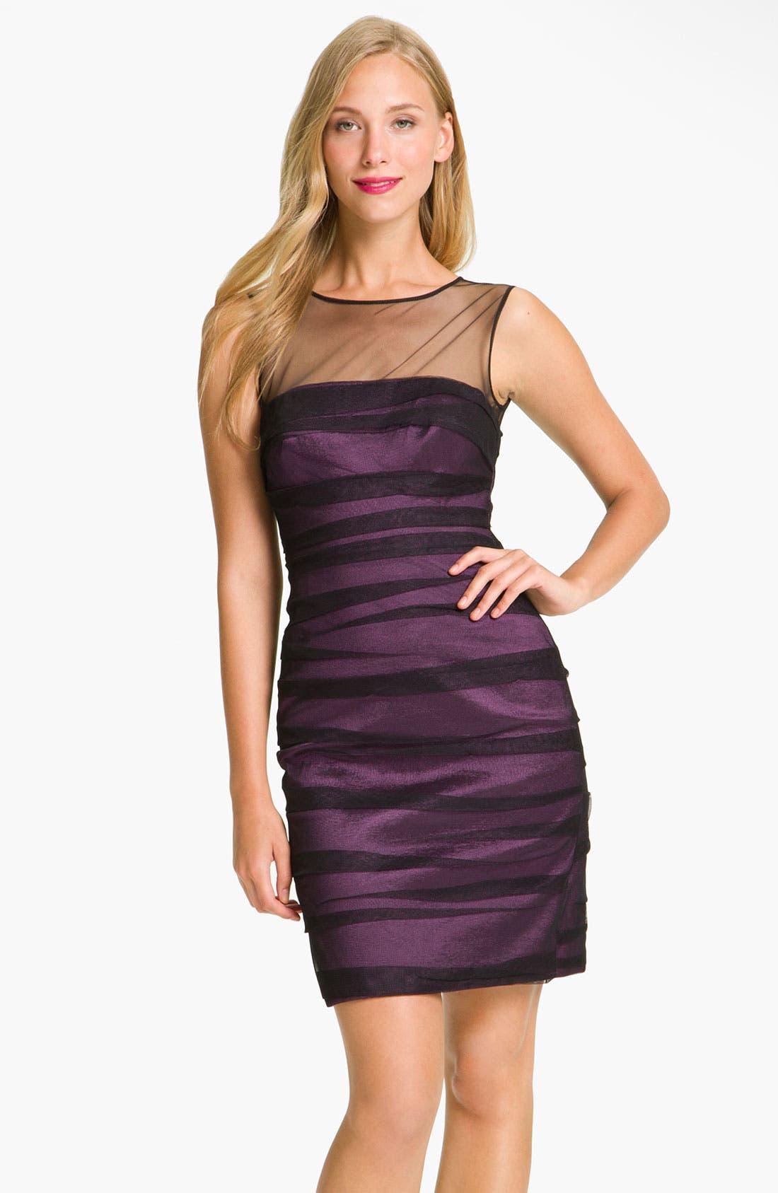 Main Image - JS Collections Shirred Illusion Yoke Sheath Dress