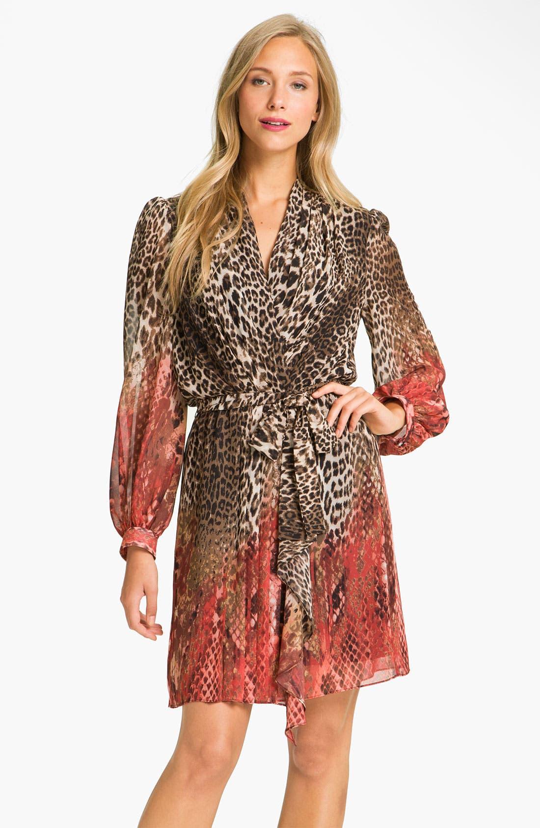 Main Image - Donna Ricco Animal Print Surplice Chiffon Dress