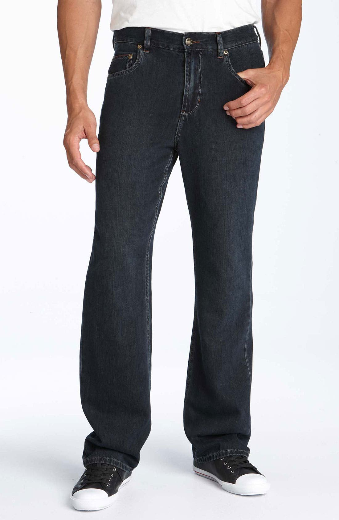 Main Image - Tommy Bahama Denim 'Island Ease' Straight Leg Jeans (Black Overdye)