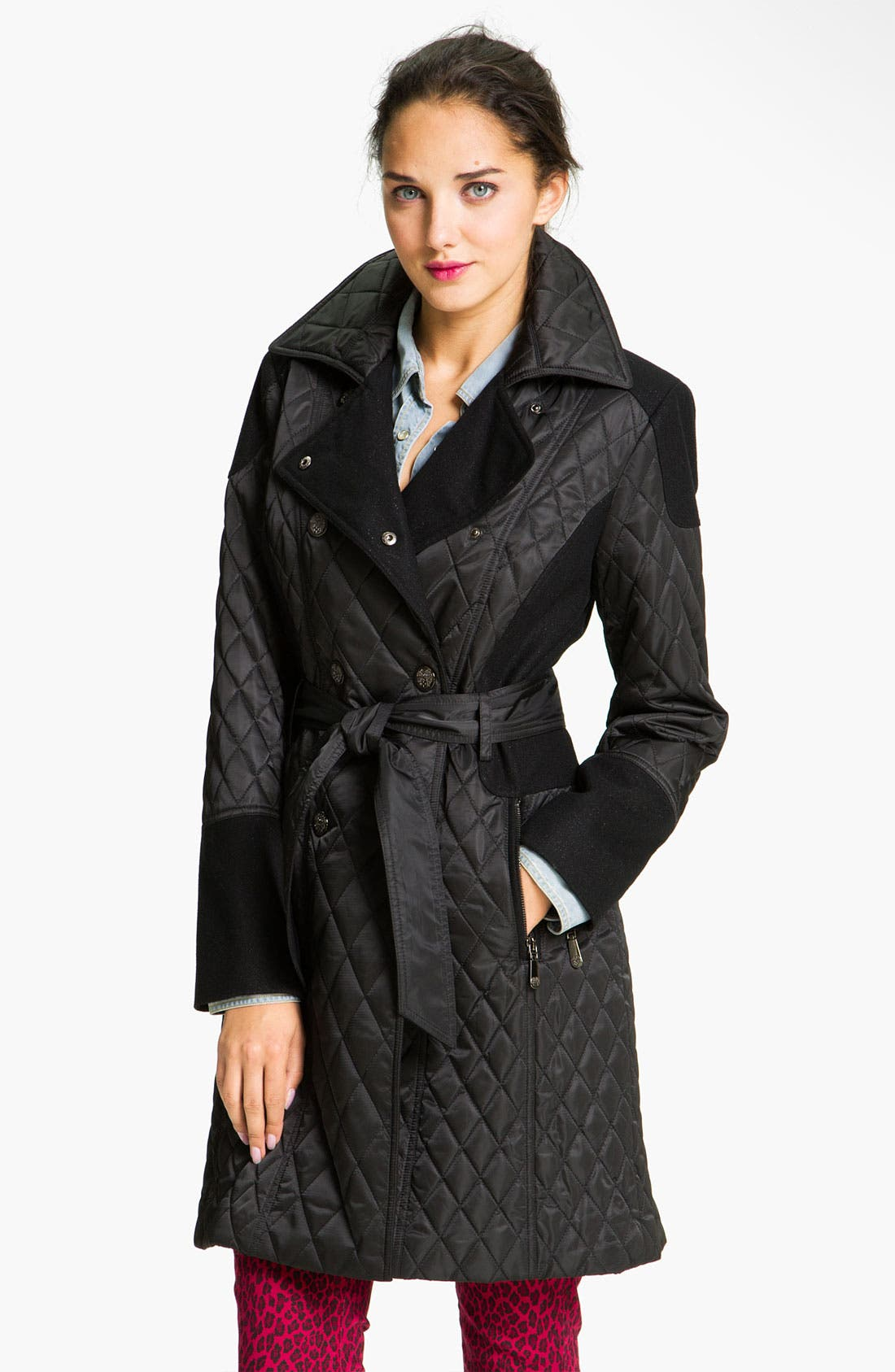 Alternate Image 1 Selected - Vince Camuto Mixed Media Quilted Trench Coat