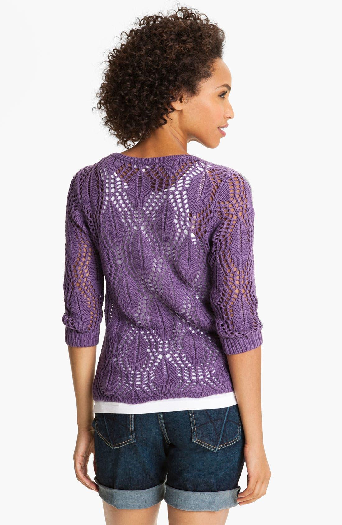 Alternate Image 2  - Caslon® Pointelle Crewneck Sweater