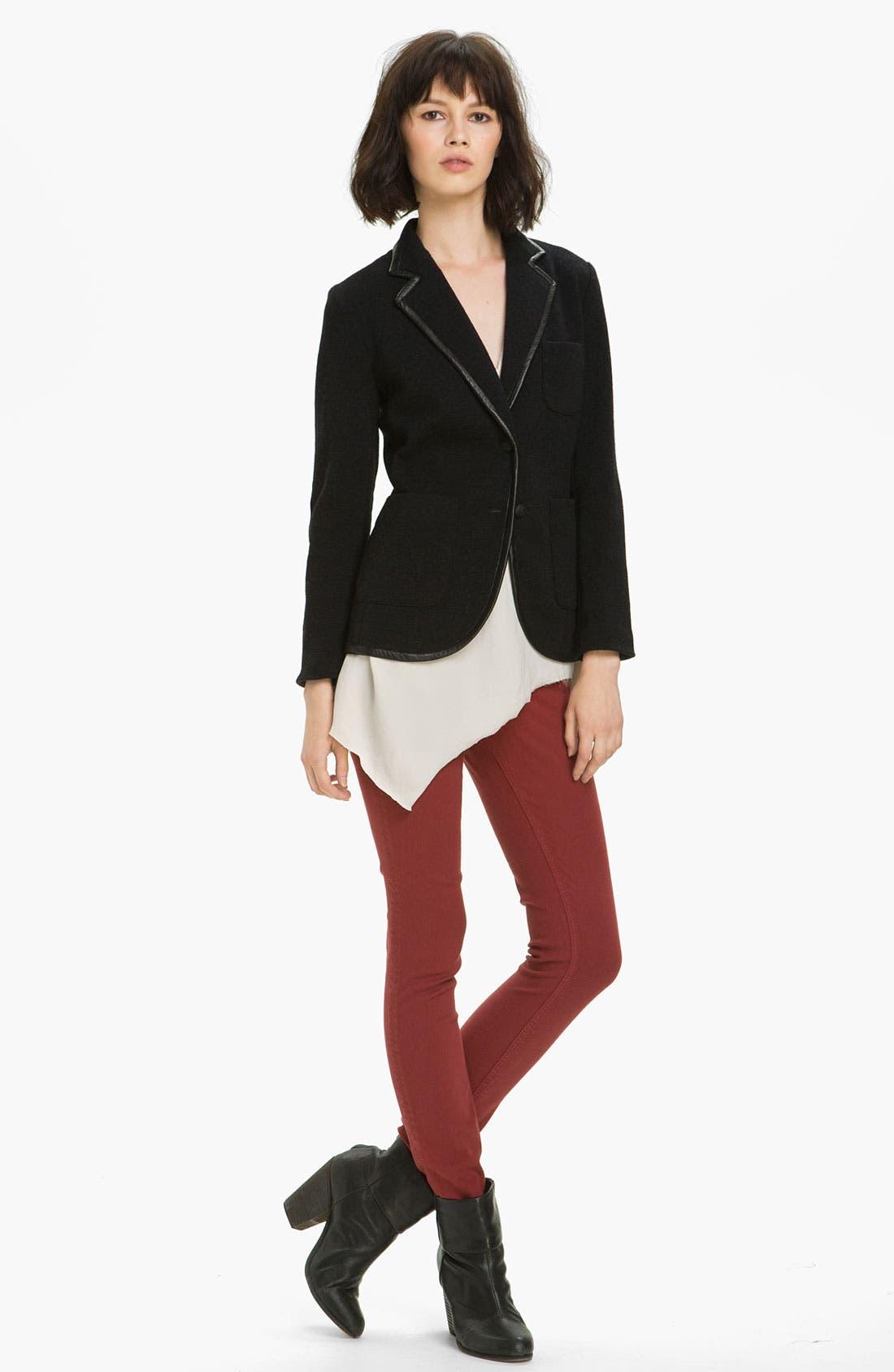 Main Image - rag & bone 'Bromley' Leather Trim Knit Blazer