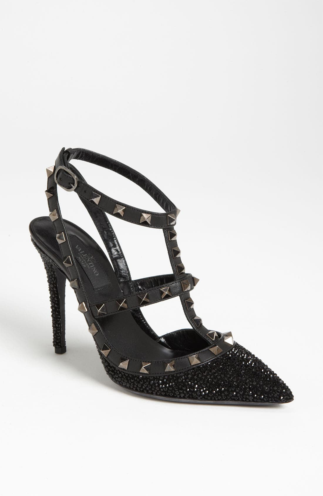 Alternate Image 1 Selected - Valentino 'Rockstud Crystal Noir' T-Strap Pump