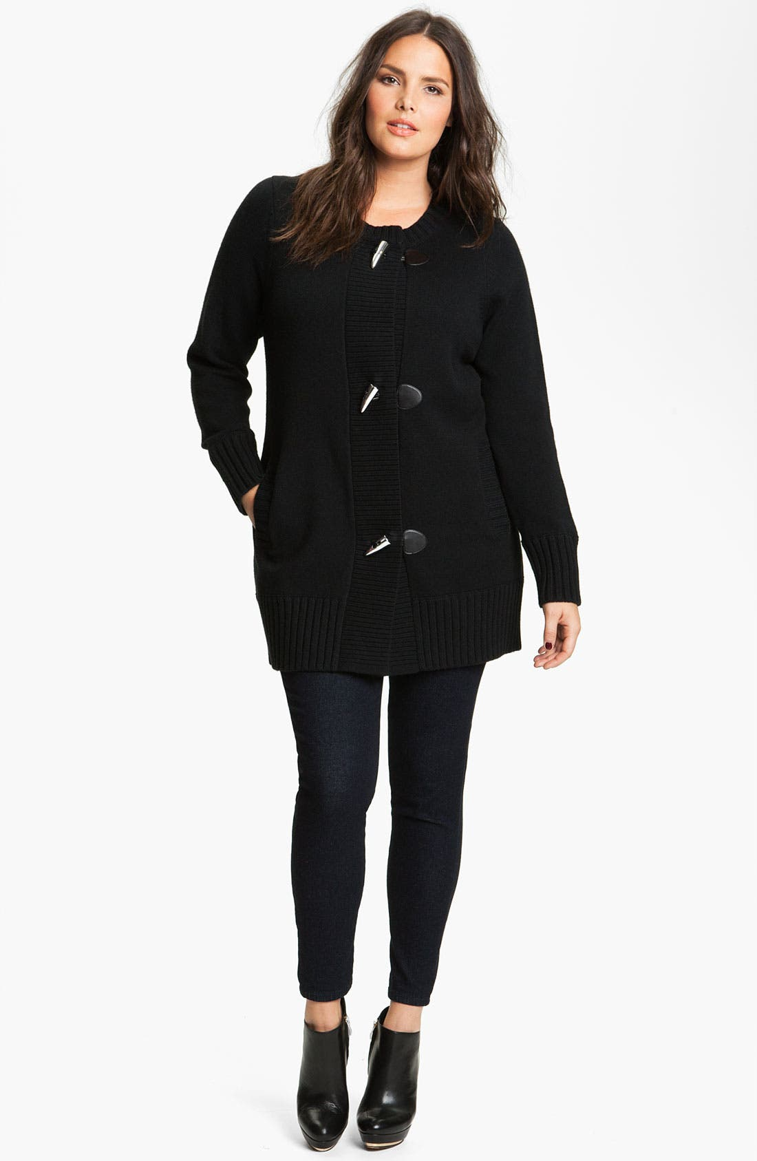 Alternate Image 1 Selected - MICHAEL Michael Kors Toggle Sweater Coat with Detachable Cowl (Plus)