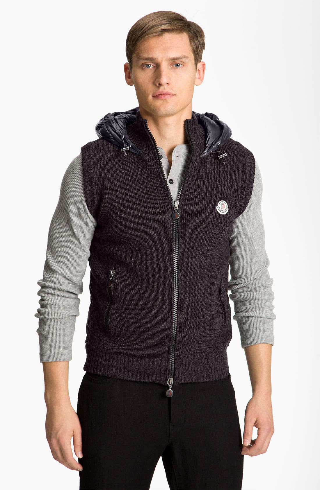 Alternate Image 1 Selected - Moncler Knit & Quilted Hooded Vest