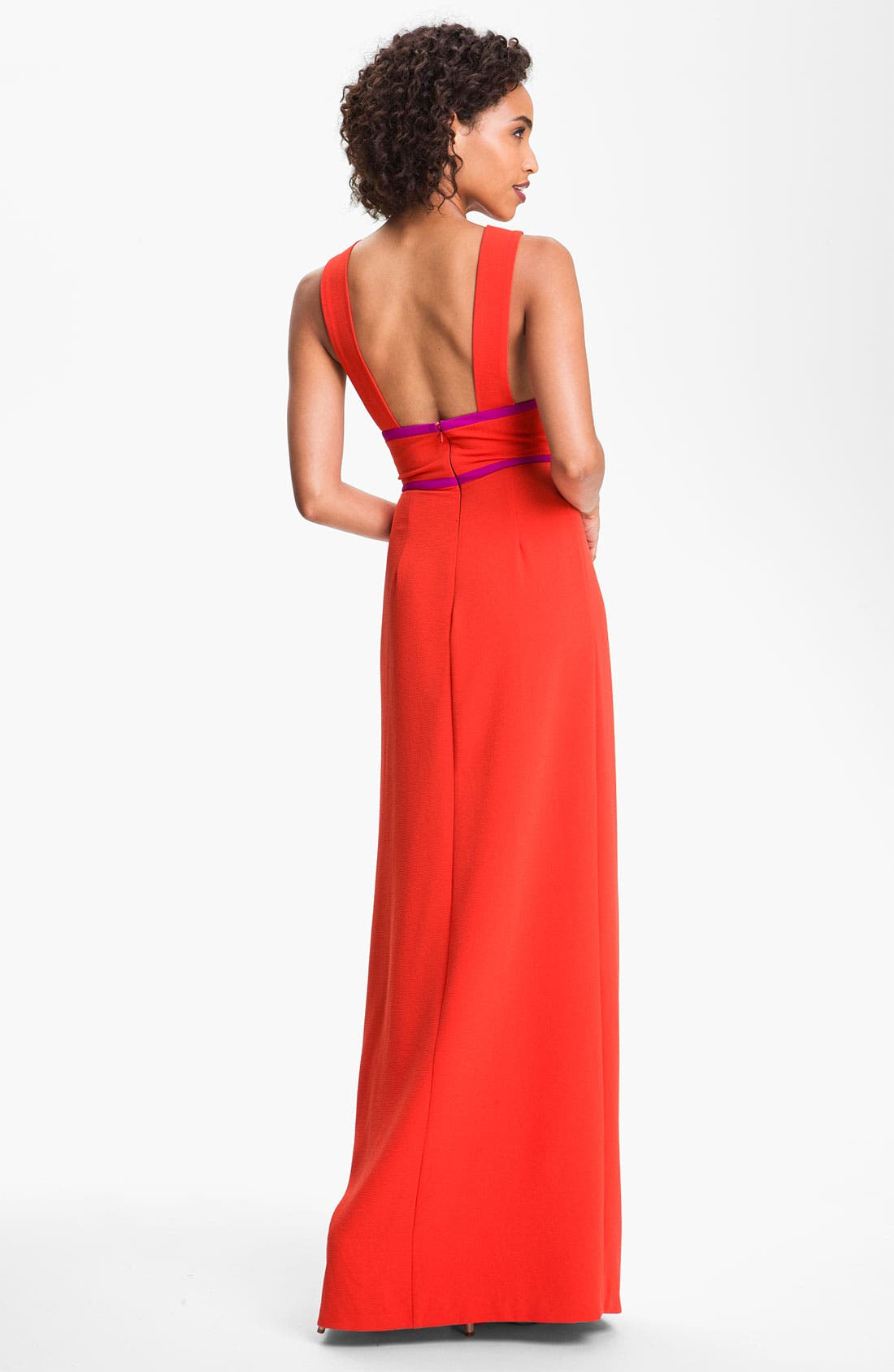 Alternate Image 2  - BCBGMAXAZRIA Colorblock Front Cutout Crepe Gown
