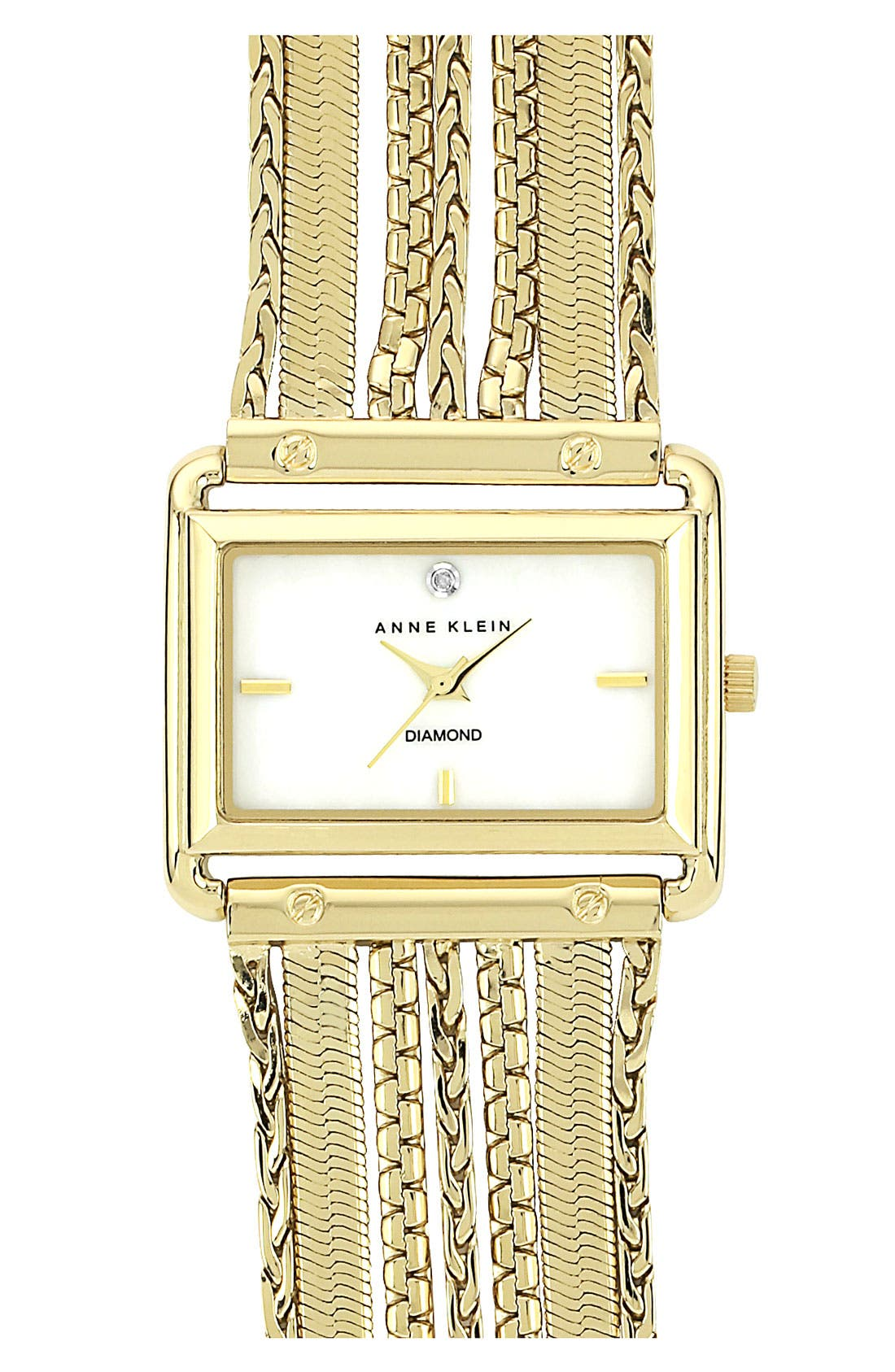 Alternate Image 1 Selected - Anne Klein Square Chain Bracelet Watch