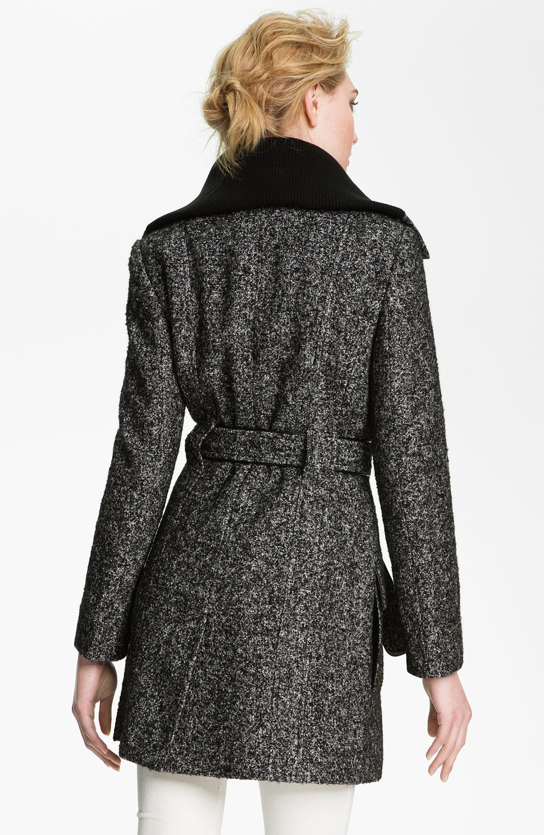 Alternate Image 2  - Calvin Klein Knit Collar Double Breasted Wool Blend Trench