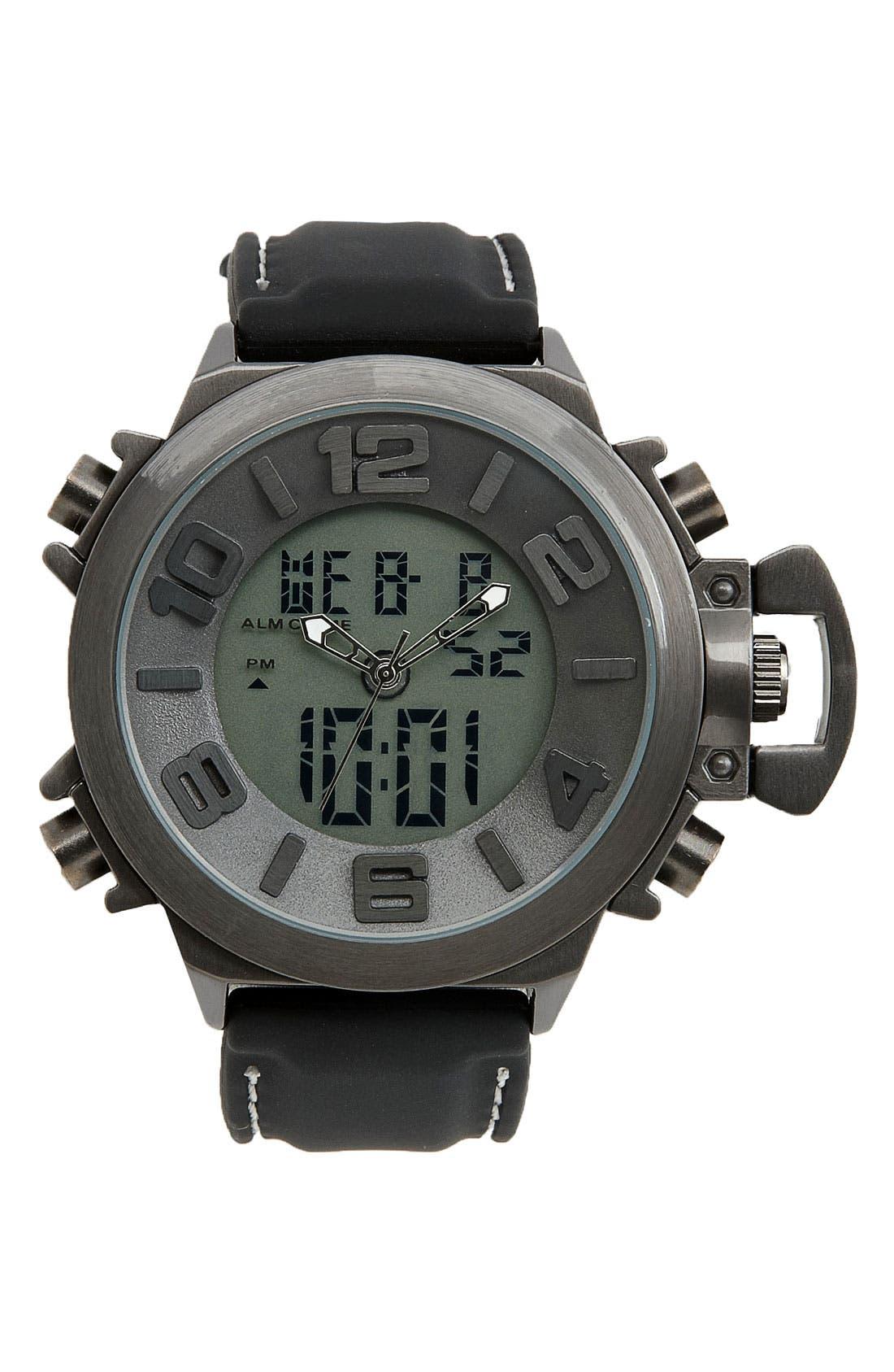 Alternate Image 1 Selected - Titanium Digital Chronograph Silicone Strap Watch