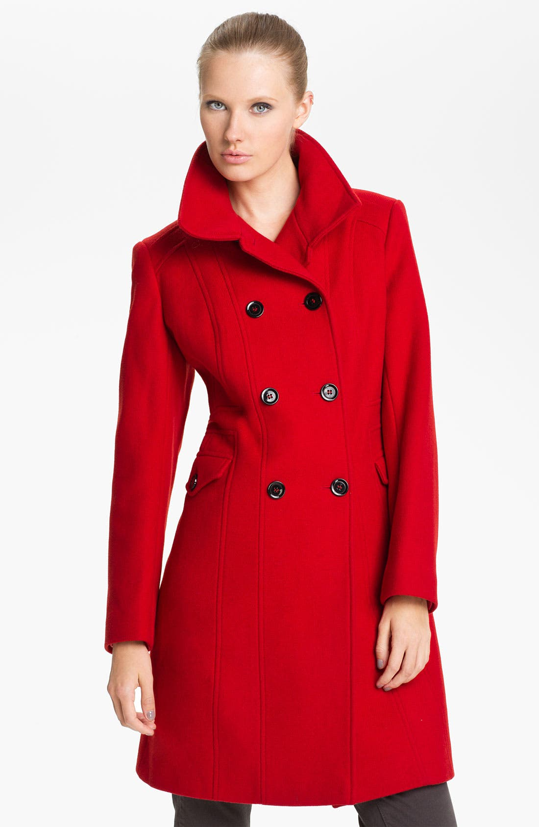 Main Image - Nicole Miller Double Breasted Wool Blend Coat