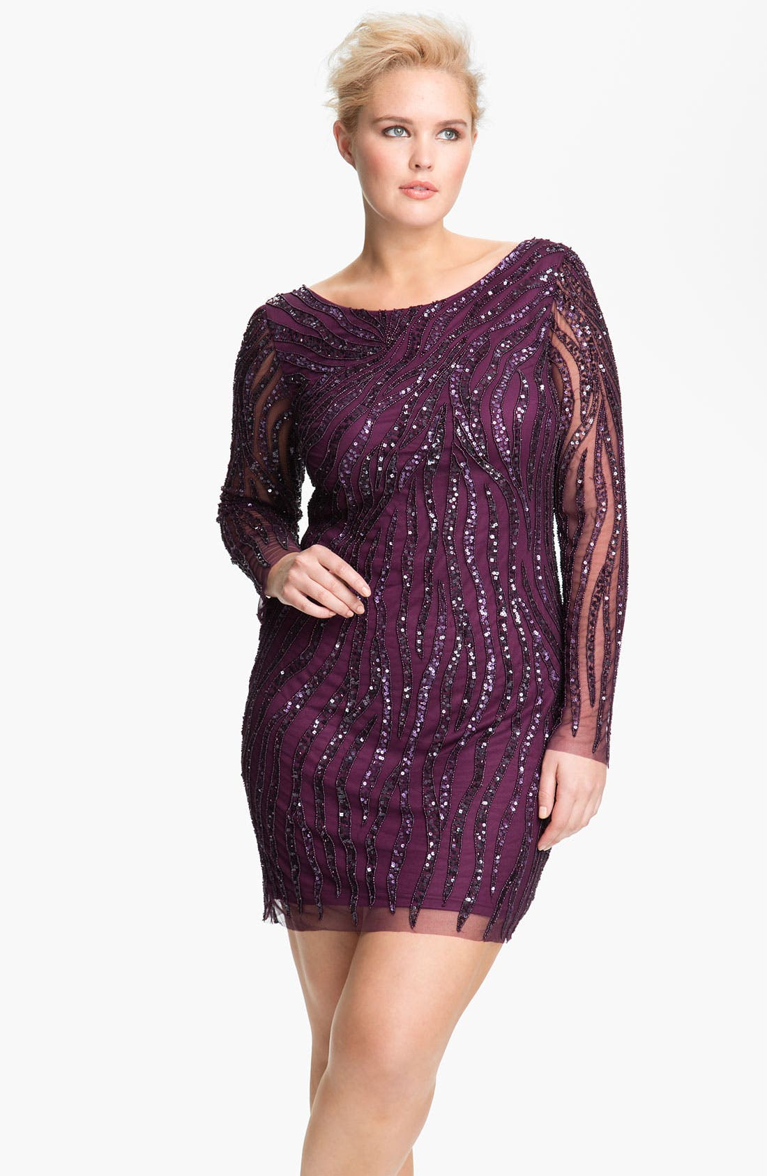 Alternate Image 1 Selected - Aidan Mattox Sequin Pattern Mesh Sheath Dress (Plus)