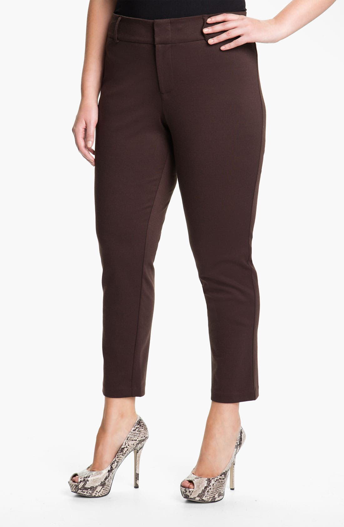 Main Image - MICHAEL Michael Kors Ponte Knit Ankle Pants (Plus)
