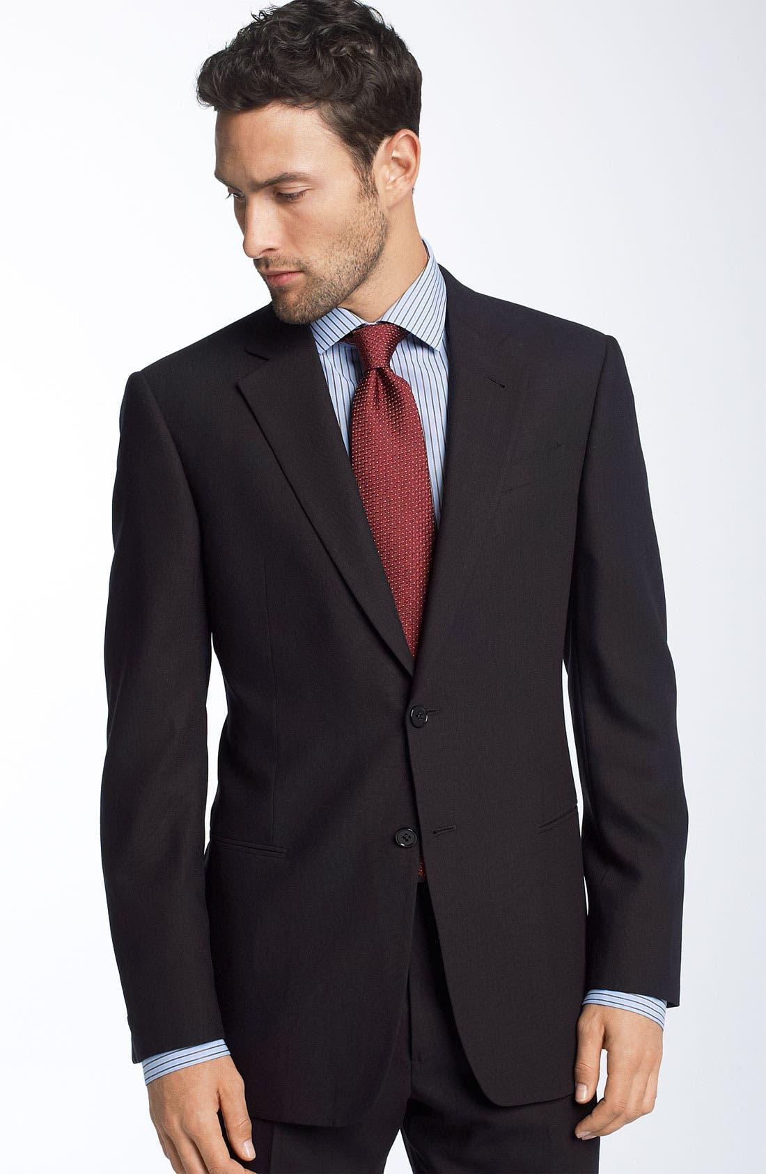 Alternate Image 3  - Armani Collezioni Trim Fit Black Wool Suit